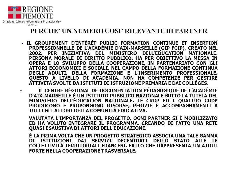 PERCHE UN NUMERO COSI RILEVANTE DI PARTNER - IL GROUPEMENT DINTÉRÊT PUBLIC FORMATION CONTINUE ET INSERTION PROFESSIONNELLE DE LACADÉMIE DAIX-MARSEILLE (GIP FCIP), CREATO NEL 2002, PER INIZIATIVA DEL MINISTERO DELLEDUCATION NATIONALE.
