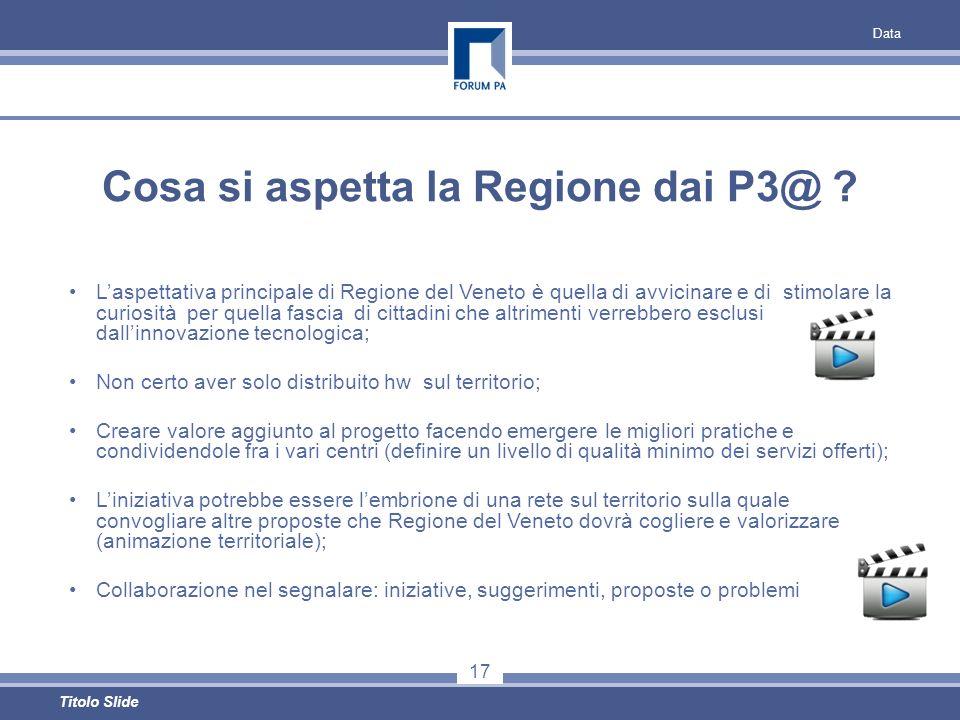 Data 17 Titolo Slide Cosa si aspetta la Regione dai P3@ .