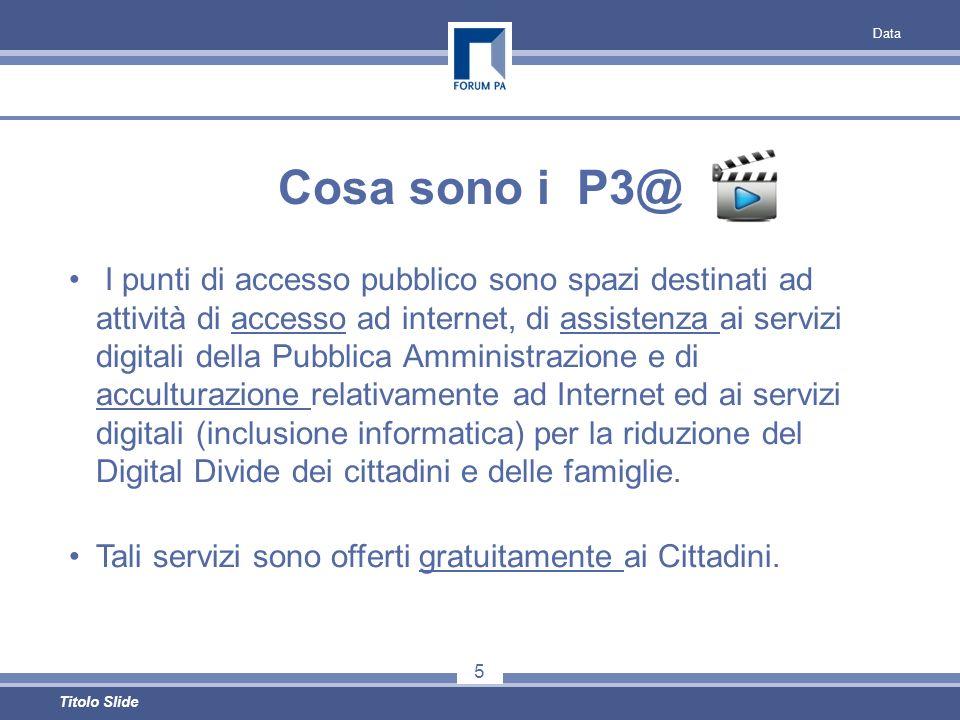 Data 5 Titolo Slide Cosa sono i P3@ I punti di accesso pubblico sono spazi destinati ad attività di accesso ad internet, di assistenza ai servizi digitali della Pubblica Amministrazione e di acculturazione relativamente ad Internet ed ai servizi digitali (inclusione informatica) per la riduzione del Digital Divide dei cittadini e delle famiglie.
