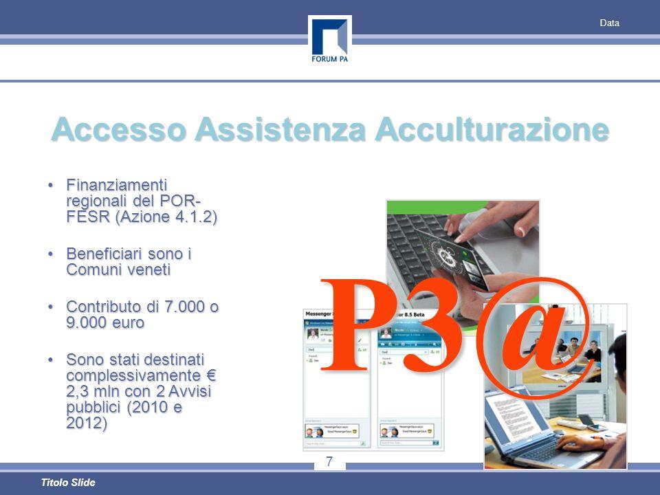 Data 7 Titolo Slide Accesso Assistenza Acculturazione Finanziamenti regionali del POR- FESR (Azione 4.1.2)Finanziamenti regionali del POR- FESR (Azione 4.1.2) Beneficiari sono i Comuni venetiBeneficiari sono i Comuni veneti Contributo di 7.000 o 9.000 euroContributo di 7.000 o 9.000 euro Sono stati destinati complessivamente 2,3 mln con 2 Avvisi pubblici (2010 e 2012)Sono stati destinati complessivamente 2,3 mln con 2 Avvisi pubblici (2010 e 2012) P3@