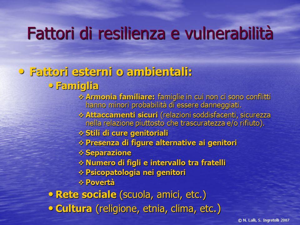 Fattori di resilienza e vulnerabilità Fattori esterni o ambientali: Fattori esterni o ambientali: Famiglia Famiglia Armonia familiare: famiglie in cui
