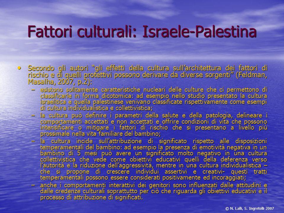 Fattori culturali: Israele-Palestina Secondo gli autori gli effetti della cultura sullarchitettura dei fattori di rischio e di quelli protettivi posso
