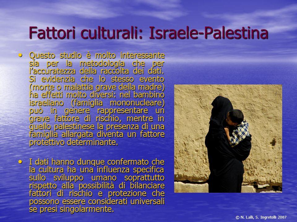 Fattori culturali: Israele-Palestina Questo studio è molto interessante sia per la metodologia che per laccuratezza della raccolta dei dati. Si eviden