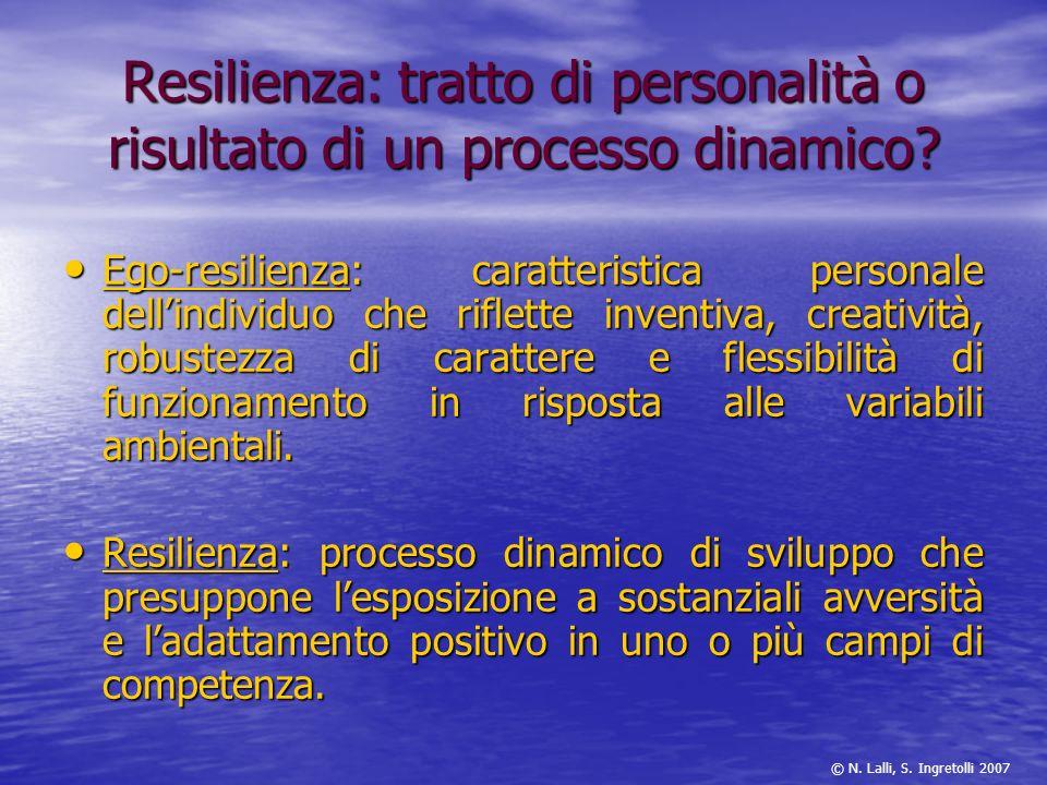 Resilienza: tratto di personalità o risultato di un processo dinamico? Ego-resilienza: caratteristica personale dellindividuo che riflette inventiva,