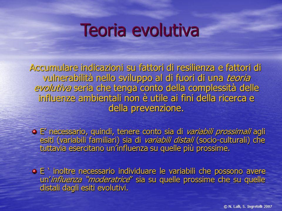 Accumulare indicazioni su fattori di resilienza e fattori di vulnerabilità nello sviluppo al di fuori di una teoria evolutiva seria che tenga conto de
