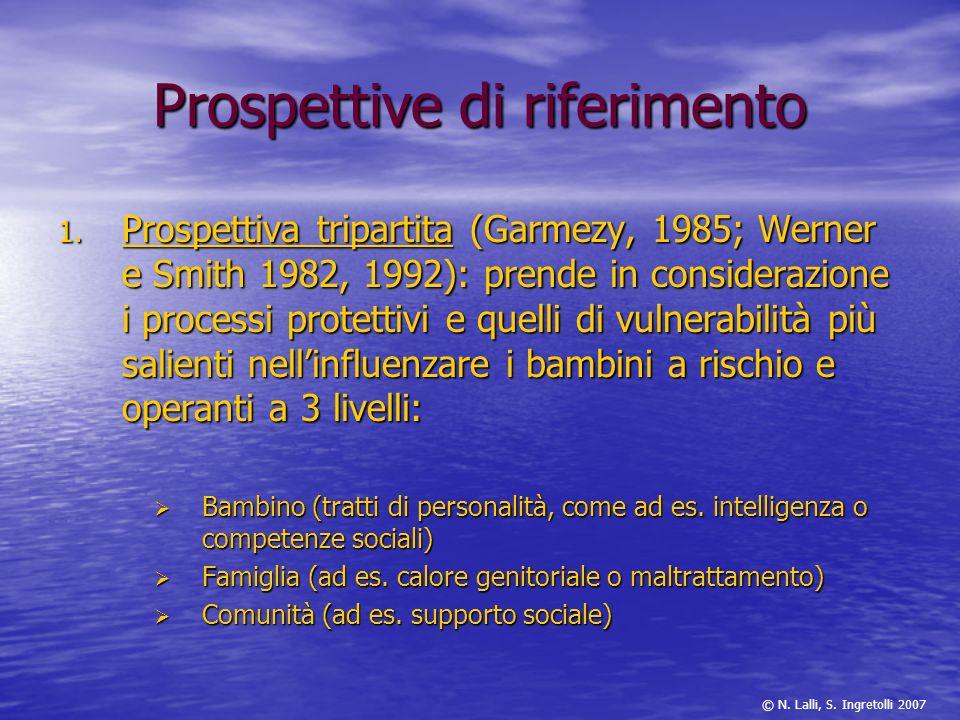 Prospettive di riferimento 1. Prospettiva tripartita (Garmezy, 1985; Werner e Smith 1982, 1992): prende in considerazione i processi protettivi e quel