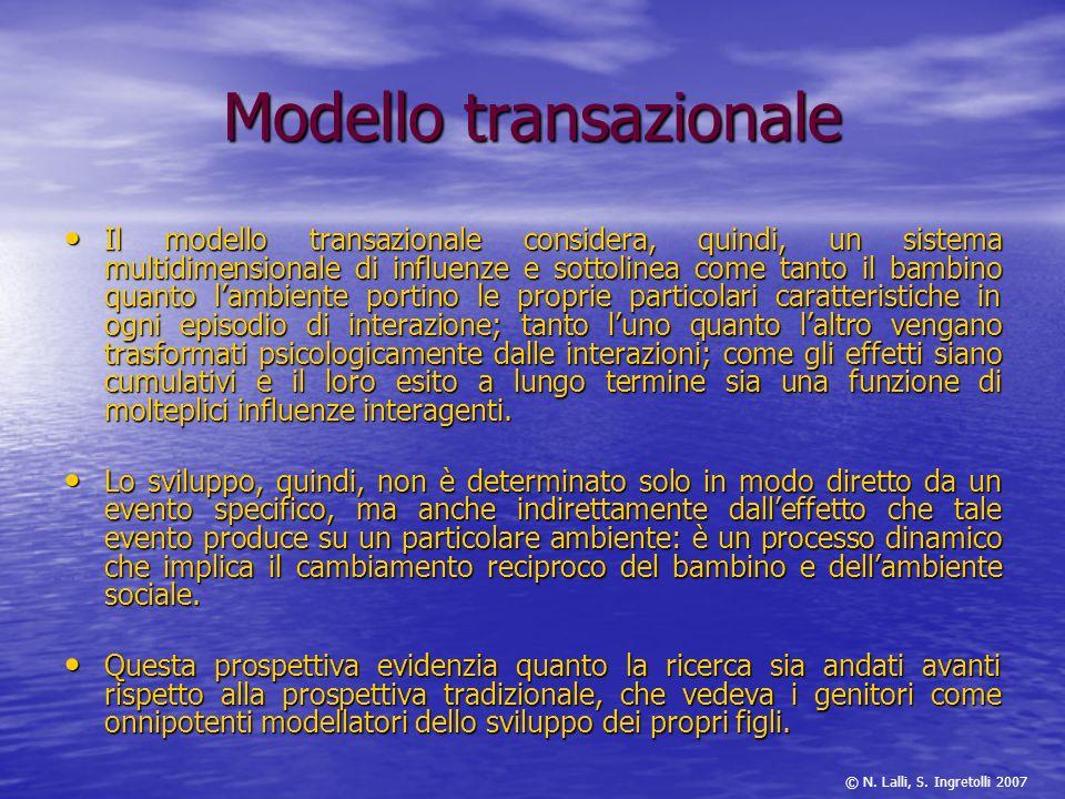 Modello transazionale Il modello transazionale considera, quindi, un sistema multidimensionale di influenze e sottolinea come tanto il bambino quanto