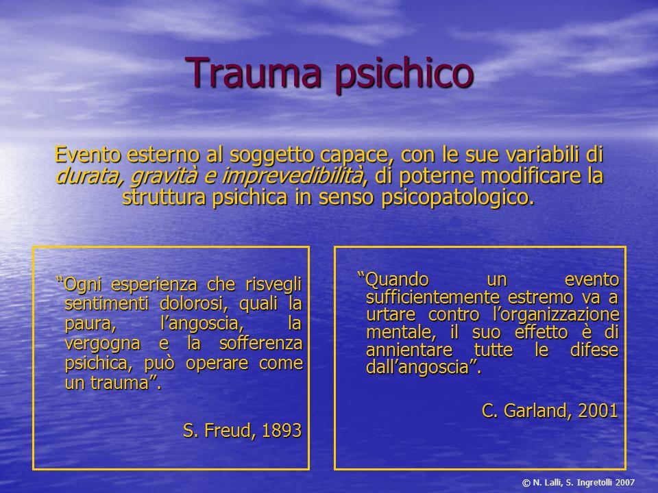 Trauma psichico Ogni esperienza che risvegli sentimenti dolorosi, quali la paura, langoscia, la vergogna e la sofferenza psichica, può operare come un