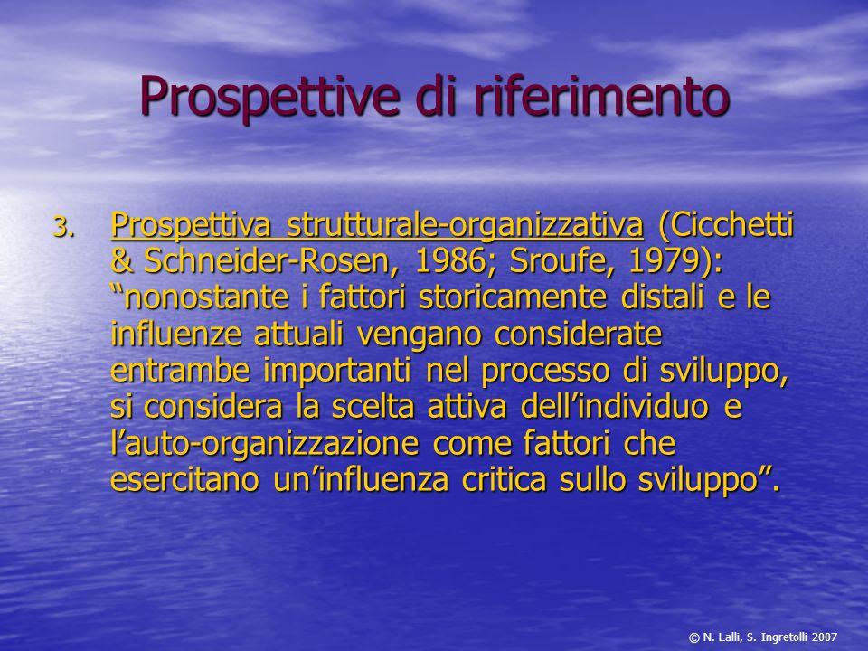 3. Prospettiva strutturale-organizzativa (Cicchetti & Schneider-Rosen, 1986; Sroufe, 1979): nonostante i fattori storicamente distali e le influenze a