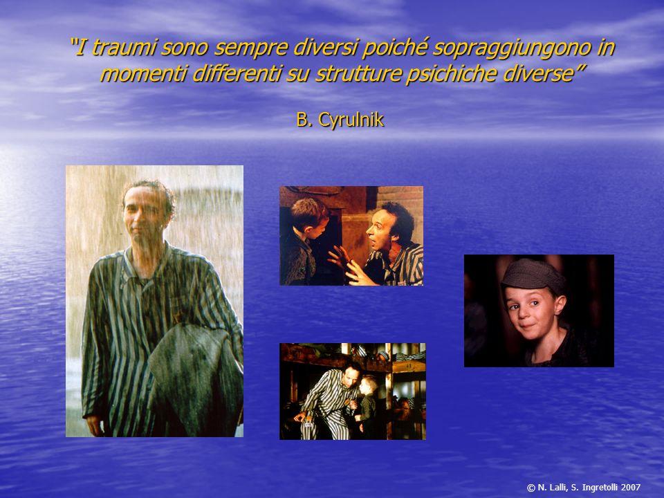 I traumi sono sempre diversi poiché sopraggiungono in momenti differenti su strutture psichiche diverse B. Cyrulnik © N. Lalli, S. Ingretolli 2007