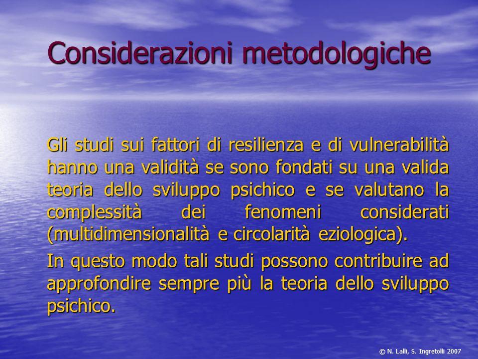 Considerazioni metodologiche Gli studi sui fattori di resilienza e di vulnerabilità hanno una validità se sono fondati su una valida teoria dello svil