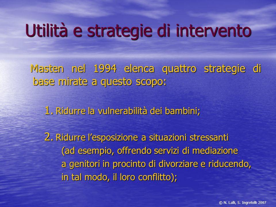 Utilità e strategie di intervento Masten nel 1994 elenca quattro strategie di base mirate a questo scopo: Masten nel 1994 elenca quattro strategie di