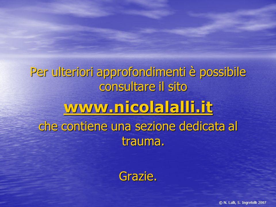 Per ulteriori approfondimenti è possibile consultare il sito www.nicolalalli.it che contiene una sezione dedicata al trauma. Grazie. © N. Lalli, S. In
