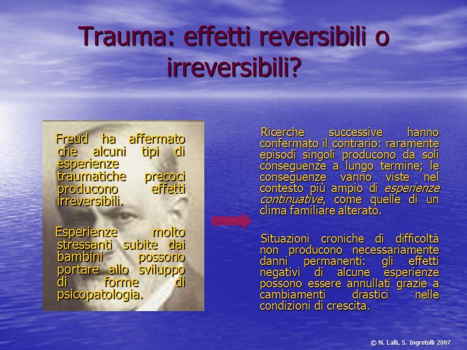 Trauma: effetti reversibili o irreversibili? Freud ha affermato che alcuni tipi di esperienze traumatiche precoci producono effetti irreversibili. Fre
