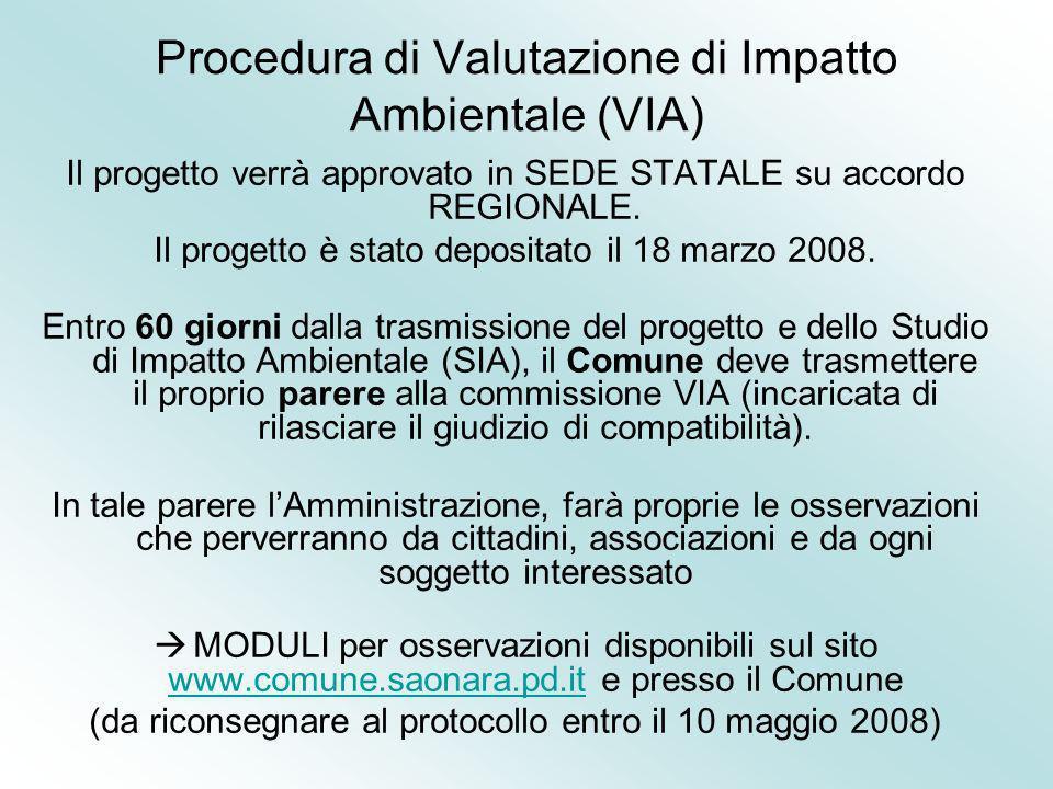 Procedura di Valutazione di Impatto Ambientale (VIA) Il progetto verrà approvato in SEDE STATALE su accordo REGIONALE. Il progetto è stato depositato