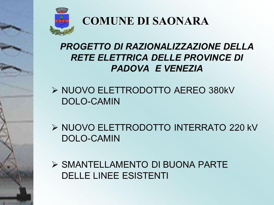 NUOVO ELETTRODOTTO AEREO 380kV DOLO-CAMIN NUOVO ELETTRODOTTO INTERRATO 220 kV DOLO-CAMIN SMANTELLAMENTO DI BUONA PARTE DELLE LINEE ESISTENTI PROGETTO DI RAZIONALIZZAZIONE DELLA RETE ELETTRICA DELLE PROVINCE DI PADOVA E VENEZIA COMUNE DI SAONARA