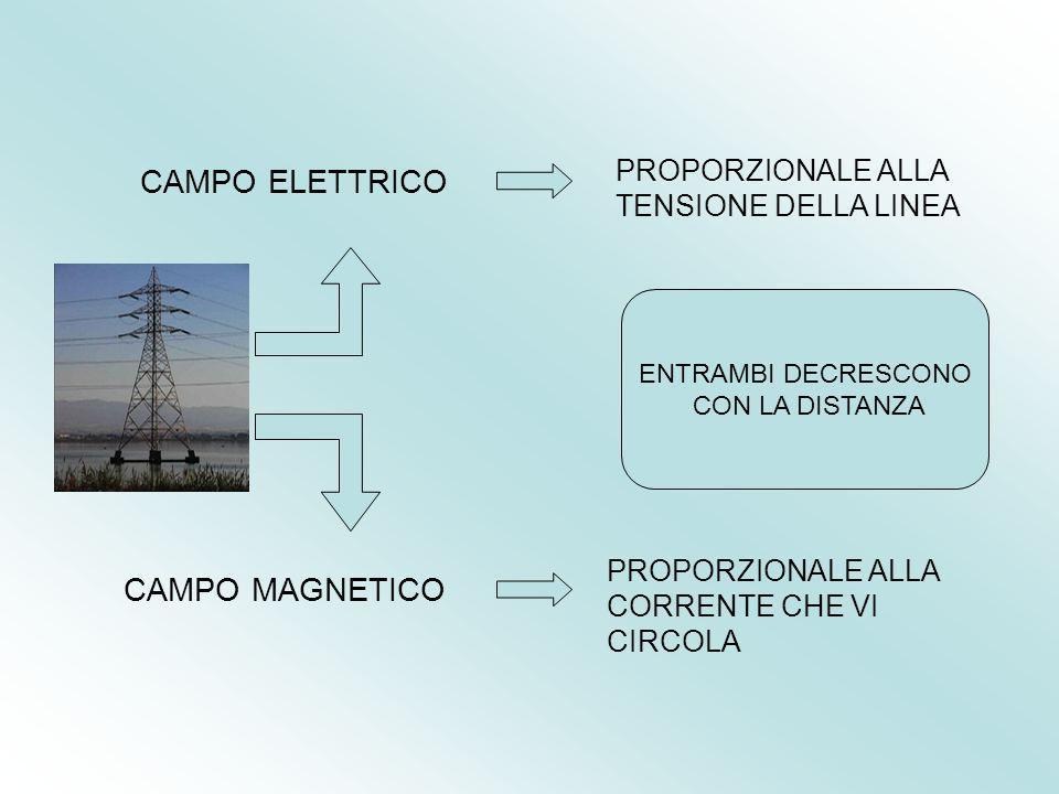 CAMPO ELETTRICO CAMPO MAGNETICO PROPORZIONALE ALLA TENSIONE DELLA LINEA PROPORZIONALE ALLA CORRENTE CHE VI CIRCOLA ENTRAMBI DECRESCONO CON LA DISTANZA