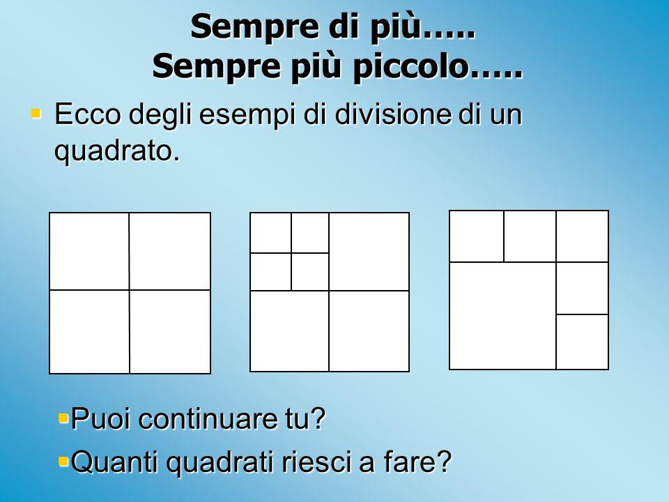 Sempre di più….. Sempre più piccolo….. Ecco degli esempi di divisione di un quadrato. Ecco degli esempi di divisione di un quadrato. Puoi continuare t