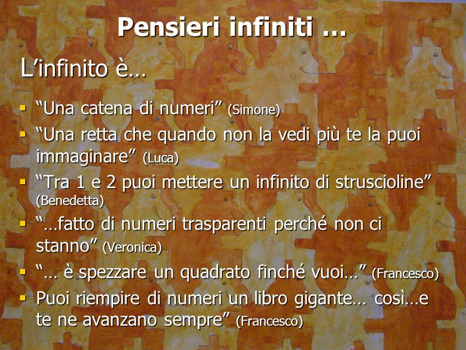 Pensieri infiniti … Una catena di numeri (Simone) Una catena di numeri (Simone) Una retta che quando non la vedi più te la puoi immaginare (Luca) Una
