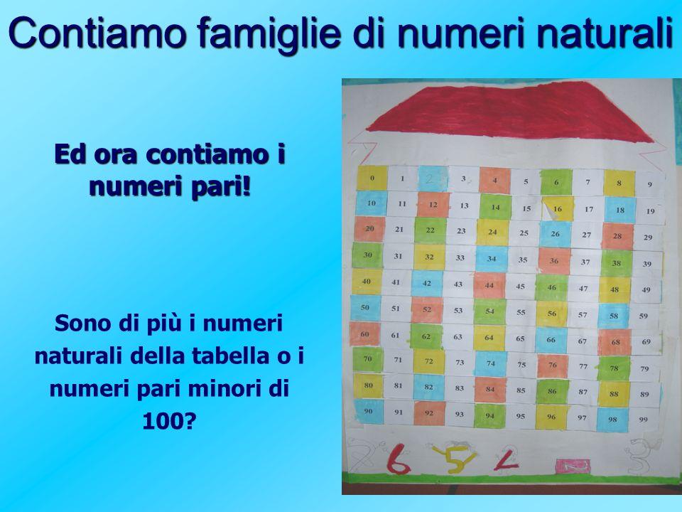Contiamo famiglie di numeri naturali Ed ora contiamo i numeri pari! Sono di più i numeri naturali della tabella o i numeri pari minori di 100?