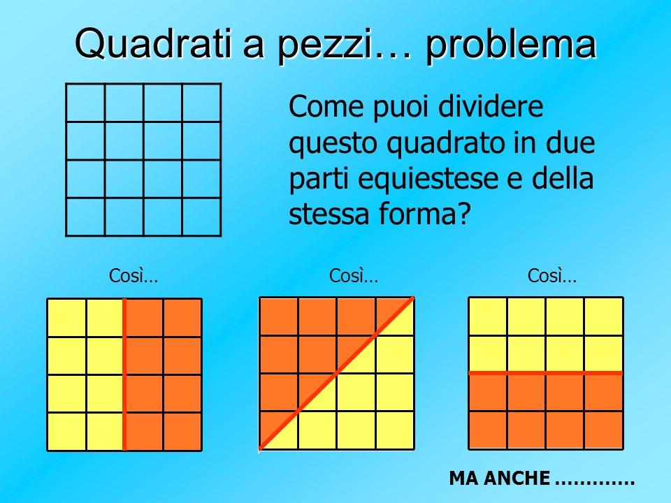 Quadrati a pezzi… problema Come puoi dividere questo quadrato in due parti equiestese e della stessa forma? Così… MA ANCHE ………….