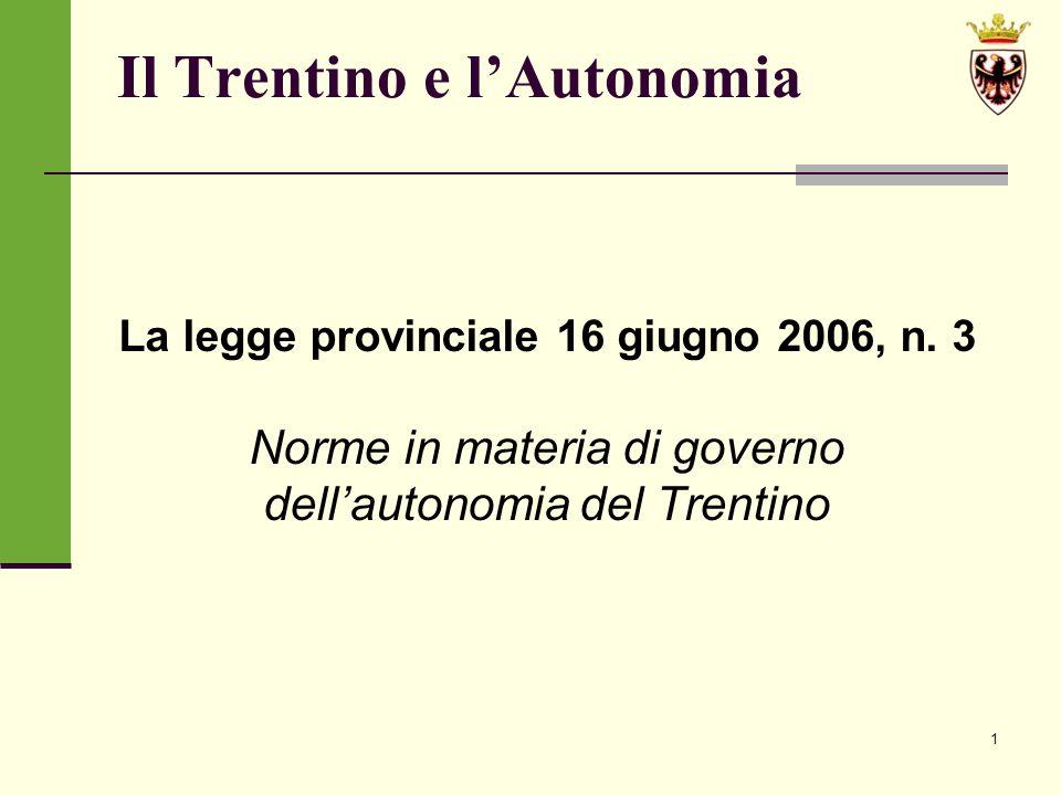 1 Il Trentino e lAutonomia La legge provinciale 16 giugno 2006, n.