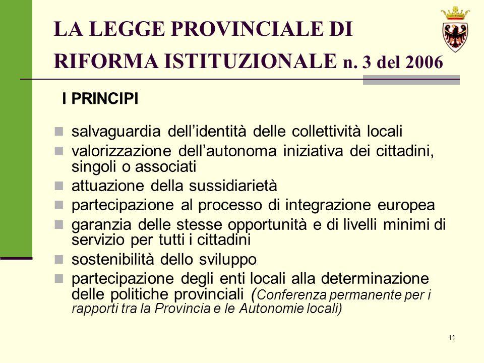 11 LA LEGGE PROVINCIALE DI RIFORMA ISTITUZIONALE n.