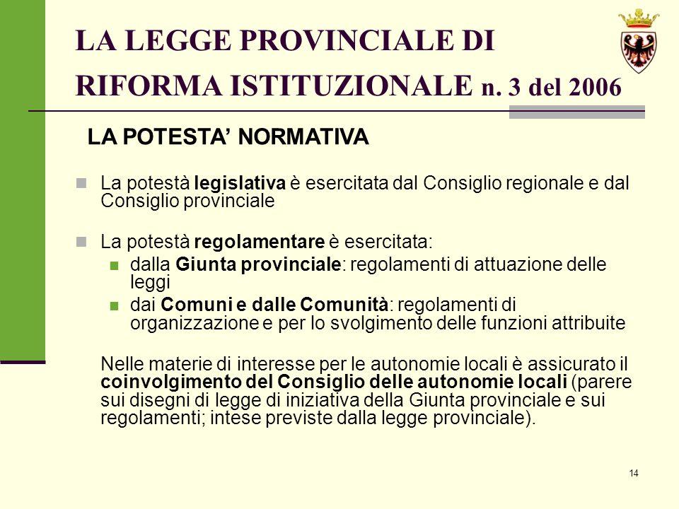 14 LA LEGGE PROVINCIALE DI RIFORMA ISTITUZIONALE n.