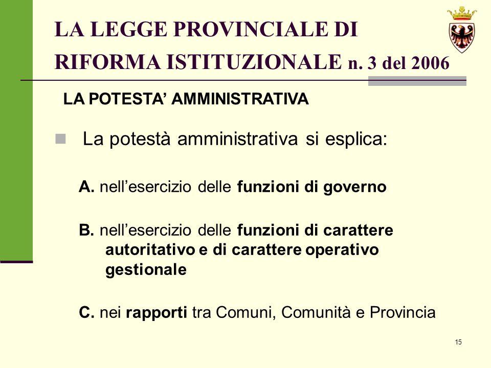 15 LA LEGGE PROVINCIALE DI RIFORMA ISTITUZIONALE n.