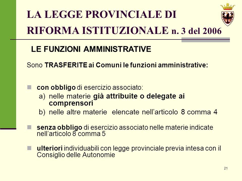 21 LA LEGGE PROVINCIALE DI RIFORMA ISTITUZIONALE n.