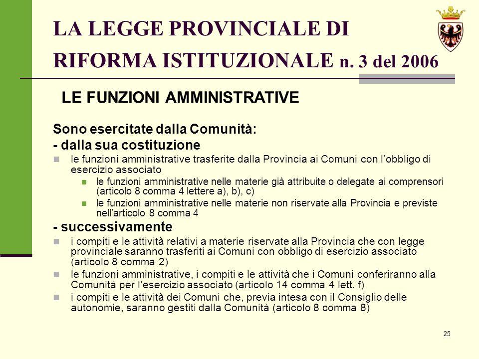 25 LA LEGGE PROVINCIALE DI RIFORMA ISTITUZIONALE n.