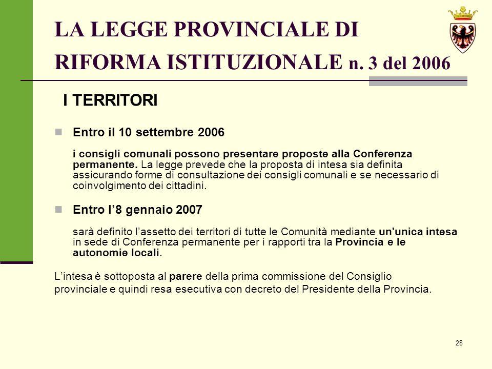 28 LA LEGGE PROVINCIALE DI RIFORMA ISTITUZIONALE n.