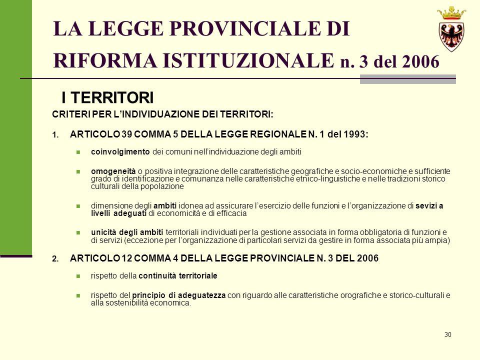 30 LA LEGGE PROVINCIALE DI RIFORMA ISTITUZIONALE n.