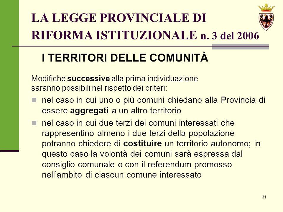 31 LA LEGGE PROVINCIALE DI RIFORMA ISTITUZIONALE n.
