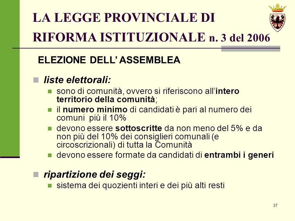 37 LA LEGGE PROVINCIALE DI RIFORMA ISTITUZIONALE n.