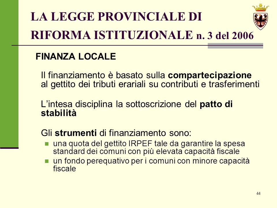44 LA LEGGE PROVINCIALE DI RIFORMA ISTITUZIONALE n.