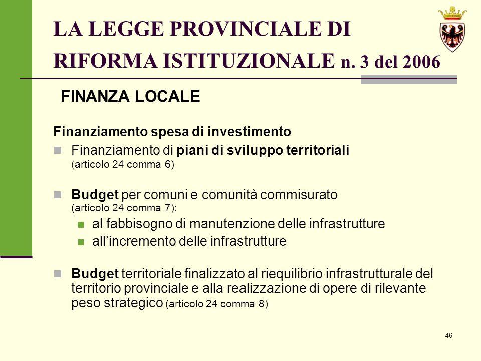 46 LA LEGGE PROVINCIALE DI RIFORMA ISTITUZIONALE n.