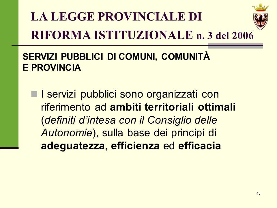 48 LA LEGGE PROVINCIALE DI RIFORMA ISTITUZIONALE n.