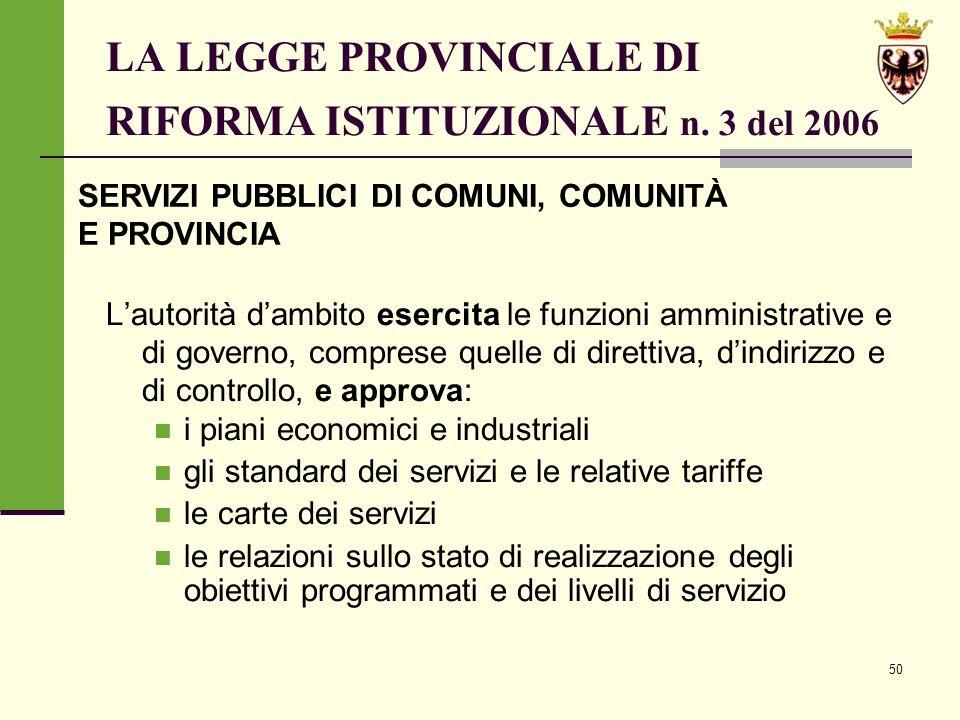 50 LA LEGGE PROVINCIALE DI RIFORMA ISTITUZIONALE n.