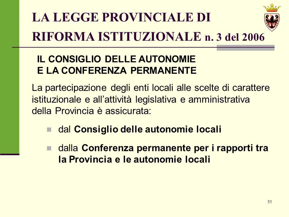 51 LA LEGGE PROVINCIALE DI RIFORMA ISTITUZIONALE n.