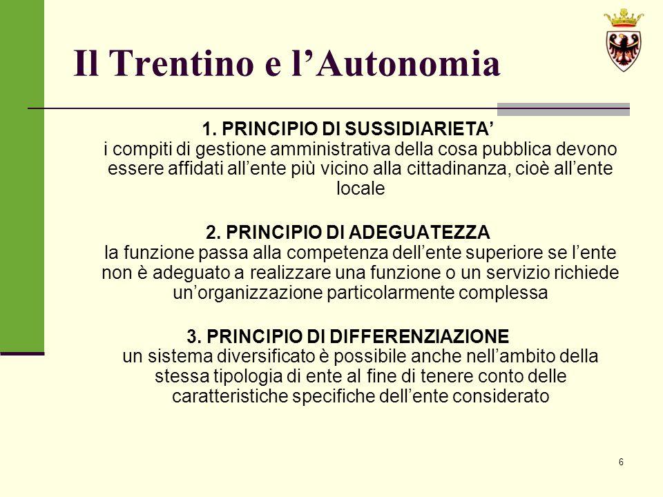 17 LA LEGGE PROVINCIALE DI RIFORMA ISTITUZIONALE n.