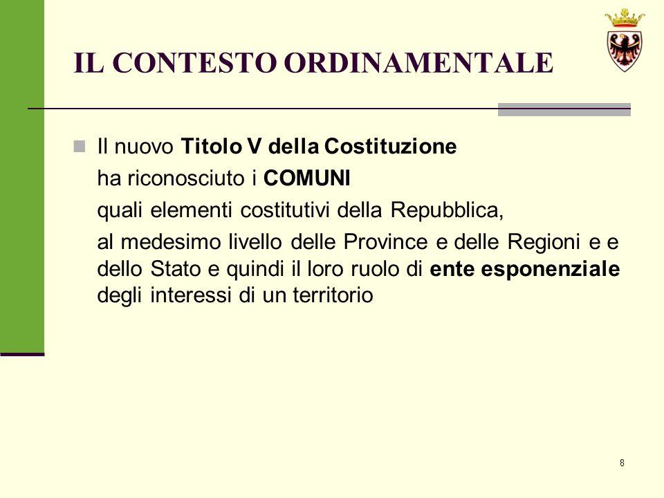 39 LA LEGGE PROVINCIALE DI RIFORMA ISTITUZIONALE n.