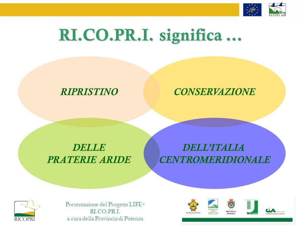 RI.CO.PR.I. significa … CONSERVAZIONE RIPRISTINO DELLE PRATERIE ARIDE DELLITALIA CENTROMERIDIONALE Presentazione del Progetto LIFE+ RI.CO.PR.I. a cura