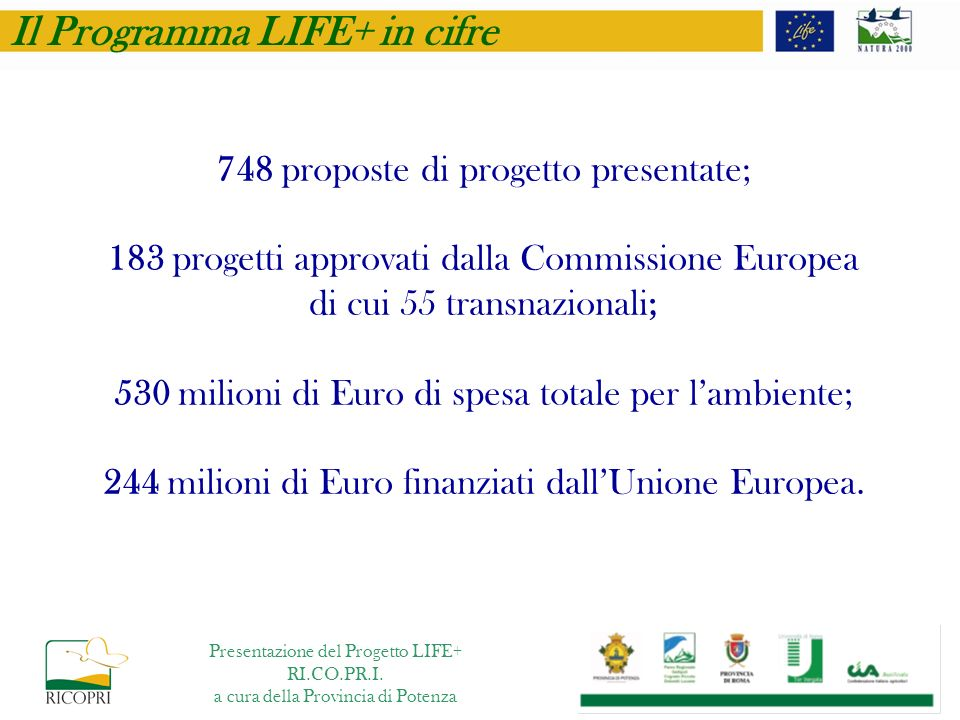 748 proposte di progetto presentate; 183 progetti approvati dalla Commissione Europea di cui 55 transnazionali; 530 milioni di Euro di spesa totale pe