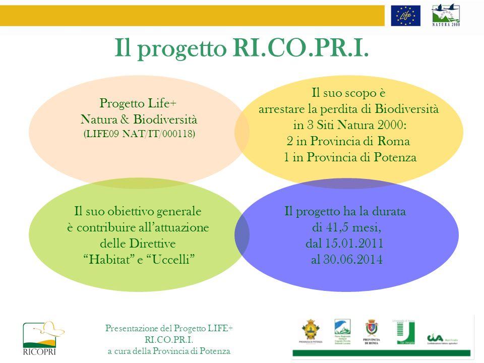 Il progetto RI.CO.PR.I. Il suo scopo è arrestare la perdita di Biodiversità in 3 Siti Natura 2000: 2 in Provincia di Roma 1 in Provincia di Potenza Pr