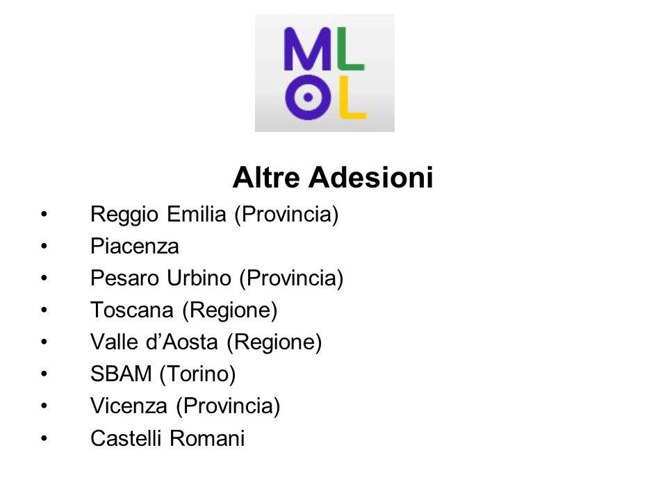 Altre Adesioni Reggio Emilia (Provincia) Piacenza Pesaro Urbino (Provincia) Toscana (Regione) Valle dAosta (Regione) SBAM (Torino) Vicenza (Provincia) Castelli Romani