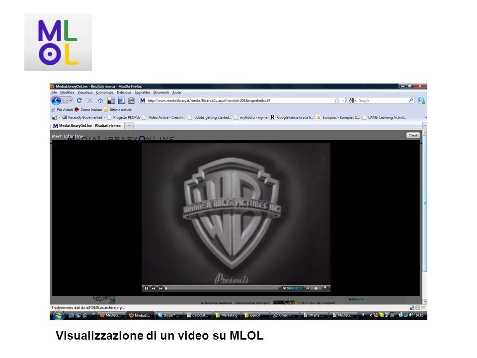 Visualizzazione di un video su MLOL