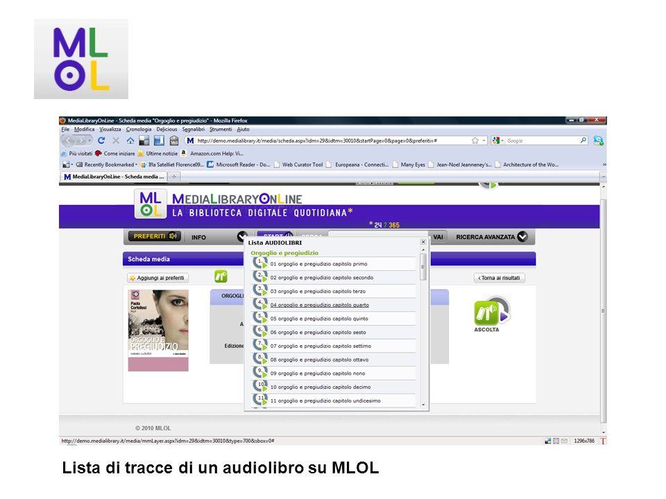Lista di tracce di un audiolibro su MLOL