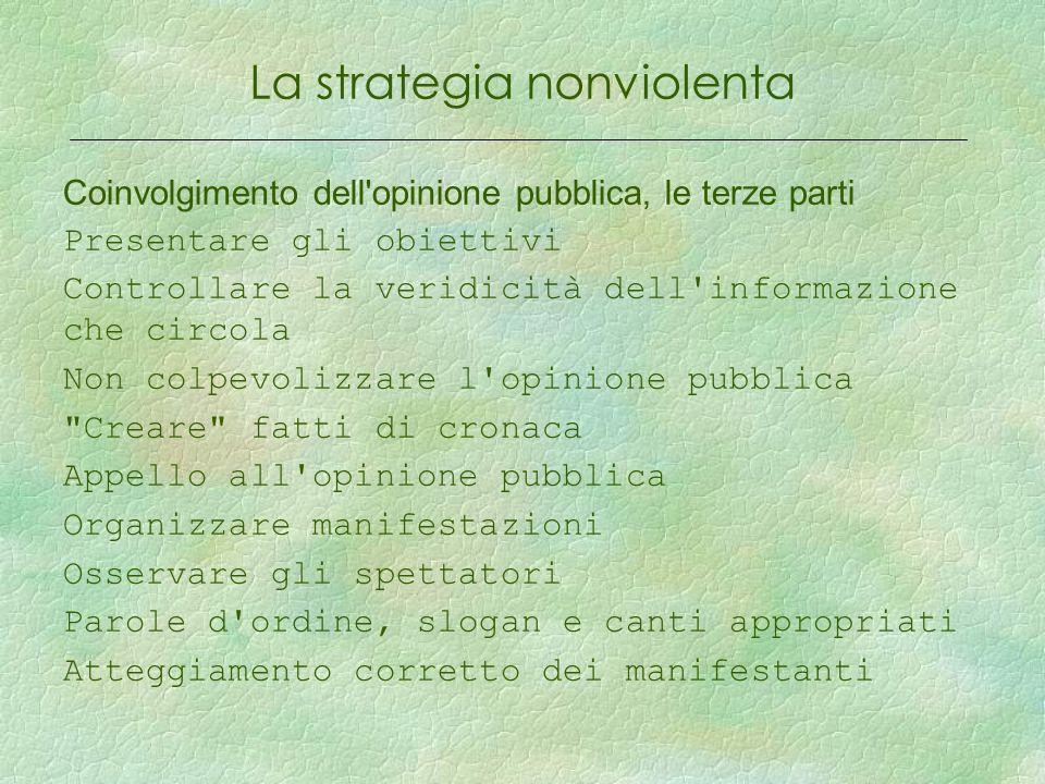 La strategia nonviolenta Coinvolgimento dell'opinione pubblica, le terze parti Presentare gli obiettivi Controllare la veridicità dell'informazione ch