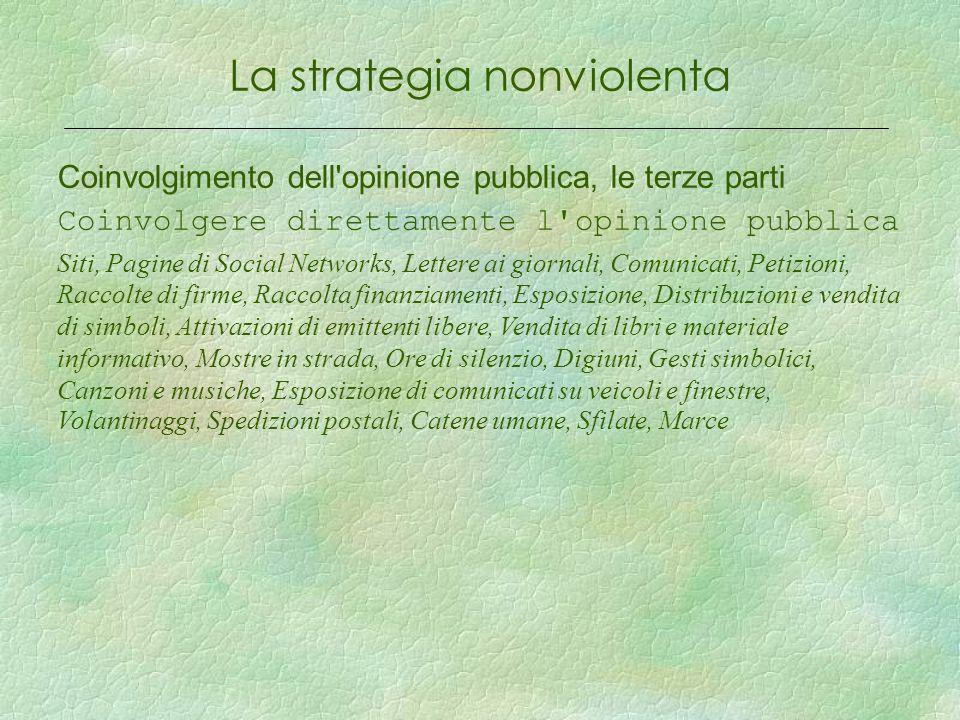 La strategia nonviolenta Coinvolgimento dell'opinione pubblica, le terze parti Coinvolgere direttamente l'opinione pubblica Siti, Pagine di Social Net